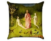 The Garden of Earthly Delights by Bosch (1) - Famous Art Sofa Throw Pillow