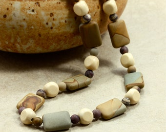 Jasper and Wood Necklace, Strand Necklace, Wild Horse Jasper, Matte, Chunky, Brown, Gold