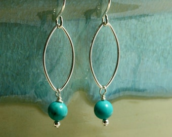 Turquoise and Open Oval Earrings, Sterling Silver, Dangle Earrings, Turquoise Earrings, Oval Hoop Earrings