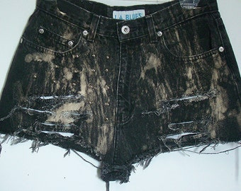 Black Bleach Brushed High Waisted Shorts