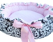 Dog Bed Gray and White Damask Minky Print Minky Dog Bed With Baby Pink Dot Cuddle Minky