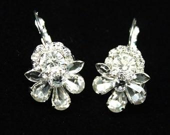 Rhinestone drop earrings- Statement Earrings- Bridal Earrings- Dangle Earrings- Bridesmade earrings- Swarovski earrings- Brass Boheme