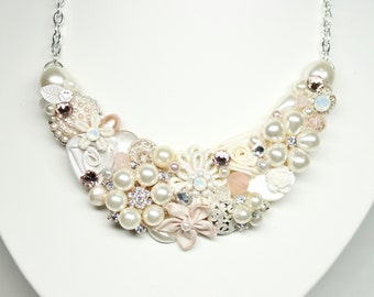 Statement Necklace- Blush Bridal Necklace- Vintage Inspired Necklace- Pale Pink Necklace-Light Pink Necklace- Wedding Necklace