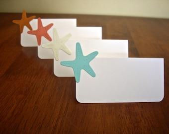 beach theme place cards, star fish place card,wedding place card, beach party, tented place cards, 10 place cards, DIY