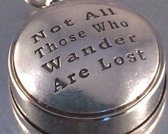 Not All Those Who Wander Are Lost Working Compass,Engraved Compass, Gift for Him, Boyfriend Gift, Husband Gift, Gift Under 30