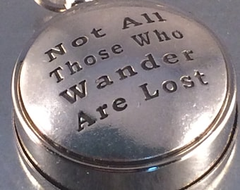 Not All Those Who Wander Are Lost Working Compass, Open Face Compass, Travel Gift, Holiday Gift
