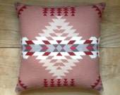 Wool Pillow - Pink Rose Red Native Geometric Tribal Southwest Western Arrow Valentine