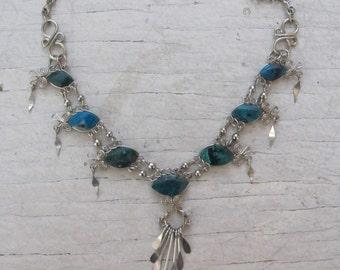 Vintage green semi precious stone, silver tone metal dangles necklace