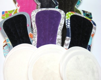 """Post Partum Pad Pack - 6 or 7* - Extra Heavy flow Pads - Choose from 11"""", 12"""" or 13"""" - Plus 3 sets of Extra Heavy Absorbency Nursing Pads*"""