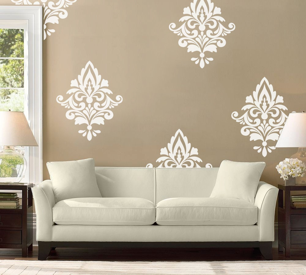 Big Damask Pattern Vinyl Wall Decal Home Decoration Wall & Wall Decal Patterns - Elitflat
