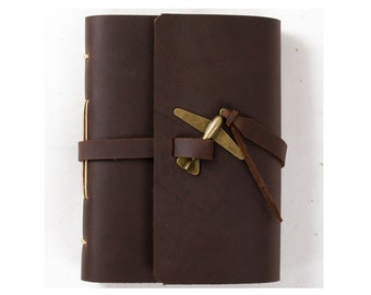 Unique Leather Journal Diary with Vintage Airplane Charm A6 Blank Lined Craft Paper Handmade Small Brown with Gift Box