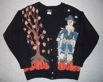 Vintage Halloween All Hallows Eve Haunted Scarecrow Sweater Tacky Gaudy Ugly Christmas Party X-Mas Pumpkin Thanksgiving Made In USA M Medium