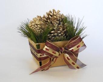 Holiday Pine Cone Vintage Basket