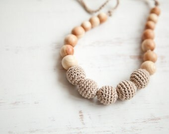 Simple small nursing necklace  - neutral beige - Sling Accessory - breastfeeding necklace - petite