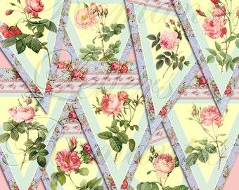 Printable  digital banner Shabby Chic birthday party digital wedding digital printable vintage banner baby girls birthday rose