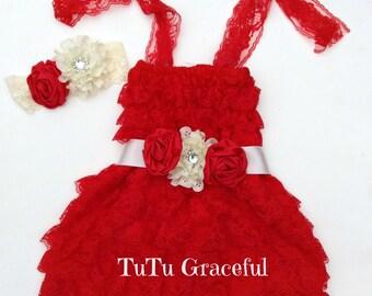 Red lace dress...sash...headband...cake smash set