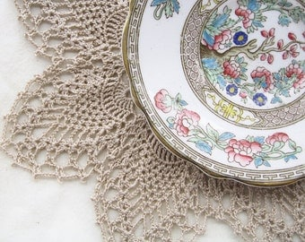"""Linen Ecru Lace Doily - Seven-Point Pineapple - Natural Tan Taupe, 9.5"""", Egyptian Cotton -Rustic Wedding Victorian Cottage Decor"""