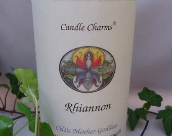 Celtic Goddess Rhiannon White Palm Wax Pillar Candle