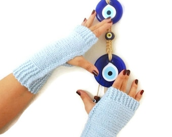 FINGERLESS Baby Blue Fingerless Gloves,Wool Mittens,Arm Warmers ,Hand Knitted, Eco Friendly ,Winter Accessories