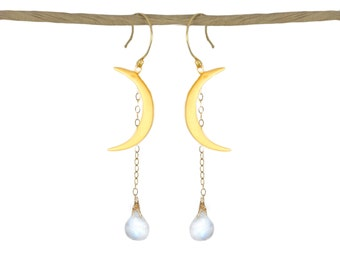 Dangling Crescent Moon Earrings. 22k Gold Vermeil Moons with Dangling Moonstone Droplets.