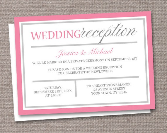 modern pink gray reception only wedding invitations by artistically