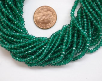 Forest Green Hydro Quartz Rondelle Faceted