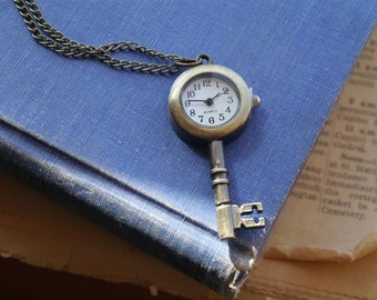 Skeleton Key Alice in Wonderland Antique Bronze Vintage Style Pocket Watch with Necklace Chain