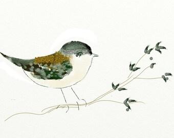 Mother's Day Little Bird CHICKADEE Watercolor PRINT~Giclee'~GIft for Her~Original design~Wall Art~Spring Bird~Birthday Gift~ Graduation Gift