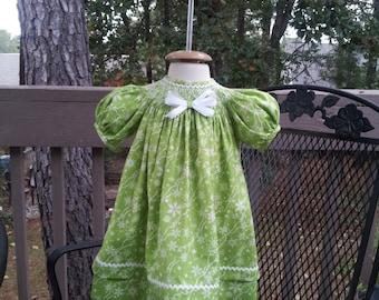 Heirloom Smocked Christmas Bishop Dress
