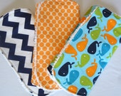 3 Burp Cloth Set - Whales, Orange Dots, Navy Chevron - Contoured Burp Cloths