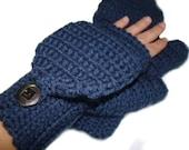 Denim Blue Mittens, Convertible Fingerless Mittens, Crochet Stylish Gloves, Winter Fashion, Flip Top Mittens, Fingerless Gloves