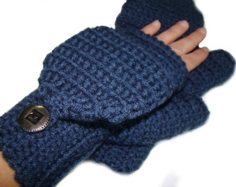 Denim Blue Mittens, Convertible Fingerless Mittens, Crochet Stylish Gloves, Winter Fashion, Flip Top Mittens, Fingerless Gloves