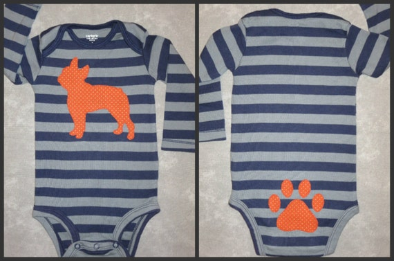 DOG front and PAW-PRINT back of almost any breed custom baby bodysuit