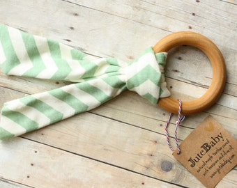 Organic Mint Chevron Wood Ring Baby TEETHING Ring, Bunny Ear Teether by JuteBaby