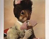 Fine Art Print: Geisha Girl Squirrel. Pop Surrealism. Animal Art