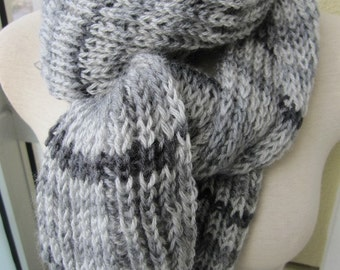Light Grey dark gray stripe ribbed knit long scarf, Knitted long scarf, knitting scarves,warm Winter scarf
