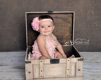 Bella Pink Chiffon and Lace Floral Sprintime Headband Newborn Photograpy Prop