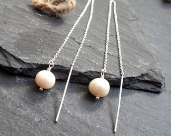 pearl and sterling silver chain thread earrings, long, uk  cultured pearl jewelery