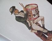 "4 Historical Prints, Marine Corps Band Drummers, John G. Bosworth, 1971, U.S. Marine Band Drummer, Neary, 1863, 1812, 1775, 17"" x 11"" Color"