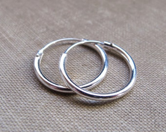 Tube Hoop Earrings 15mm - Sterling Silver Hoops - 2mm Tube Round Endless Earrings - Unisex jewelry / Everyday Earrings / Fashion Jewelry