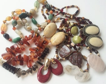 Vintage Semi Precious Stone, Mineral, and Glass Bead Lot, Agate, Coral, Rose Quartz, Jasper, Wear or Destash Lot, Assemblages