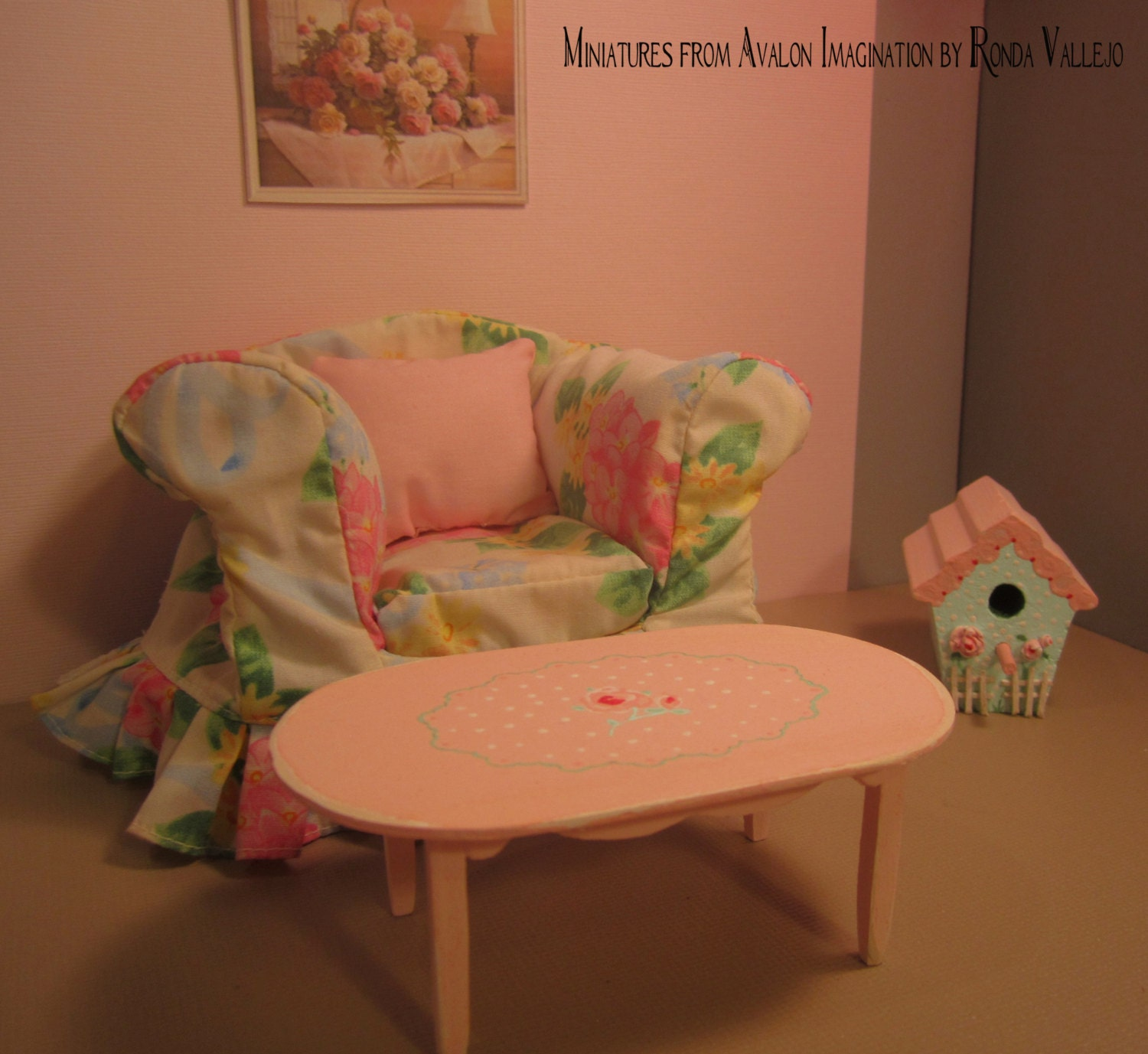 Miniature Dollhouse Coffee Table In Hand Painted Shabby Chic