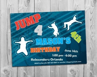 Trampoline Party Invitation | Printable | Boy or Girl Birthday Party Invite | JUMP