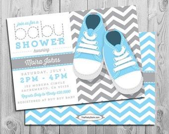 Chevron Baby Shower Invitation | Baby Boy Blue Grey White | FREE Back | Baby  Shoes