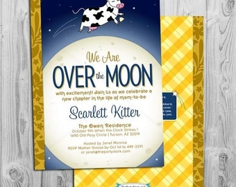 Nursery Rhyme Baby Shower Invitation | Printable Cow Jumped Over the Moon Invite | Blue Yellow Invitations | Decorations & Games Available