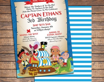 Jake and the Neverland Pirates Invitations: Printable Boys Custom Pirate Birthday Party Invitation, FREE BACK. ~Click to see printables too~