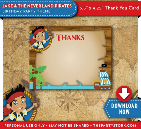 Jake and the neverland pirates thank you card jake birthday party il570xn filmwisefo