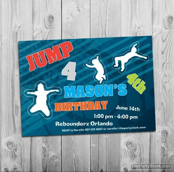 Trampoline Party Invitations: Trampoline Party Invitation Printable Boy Or Girl Birthday