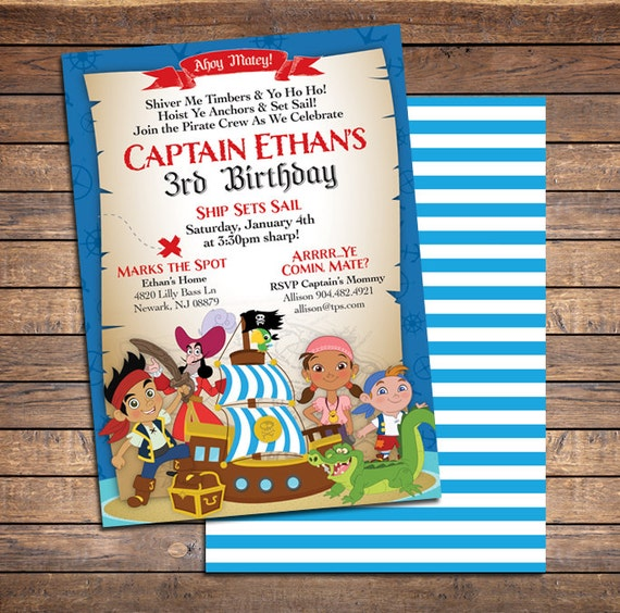 Jake And The Neverland Pirates Invitations Printable Boys Custom
