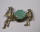 Vintage Brooch, Asian Figural, Faux Jade